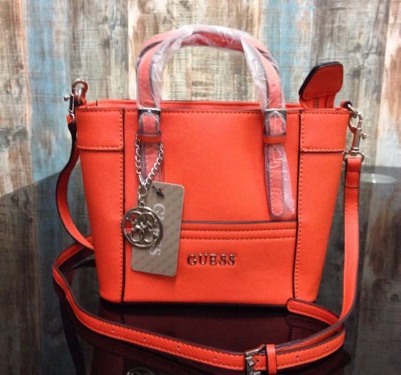 7cf7d0237bc5 Original Guess Mini Tote Bag Orange