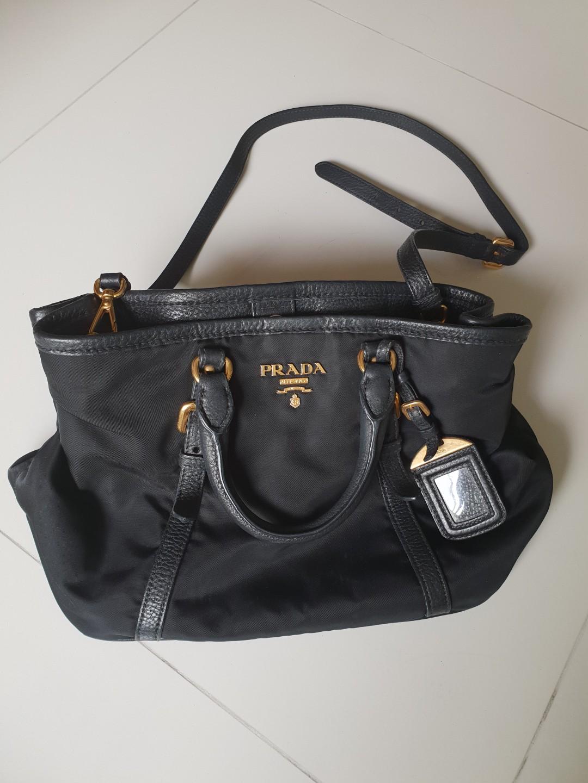 602c41a46401 Prada BN1841 Tessuto Nylon Convertible Tote Bag (Black), Luxury ...