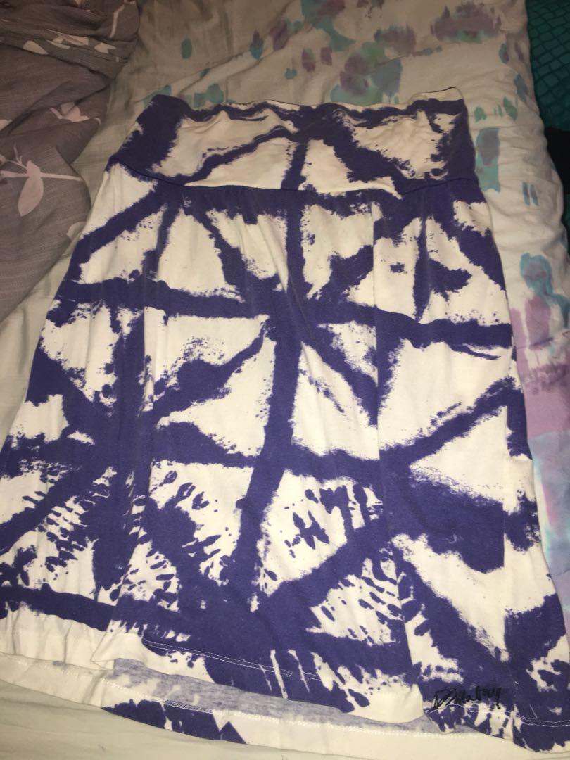 Purple tie dye strapless dress