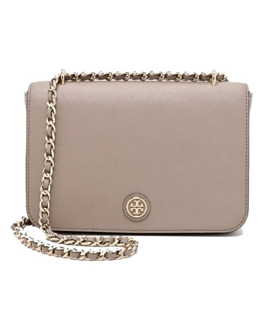 cd08226db45d Tory Burch Robinson Chain Adjustable Shoulder Cross French Grey ...