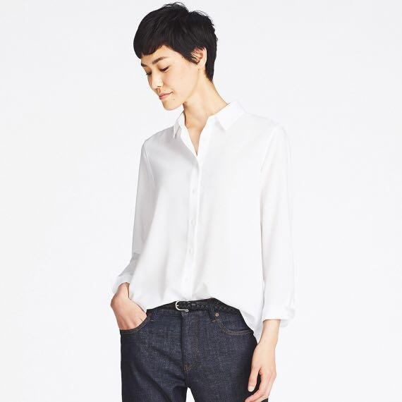 3ce4069445 Uniqlo women rayon long sleeve blouse, Women's Fashion, Clothes ...