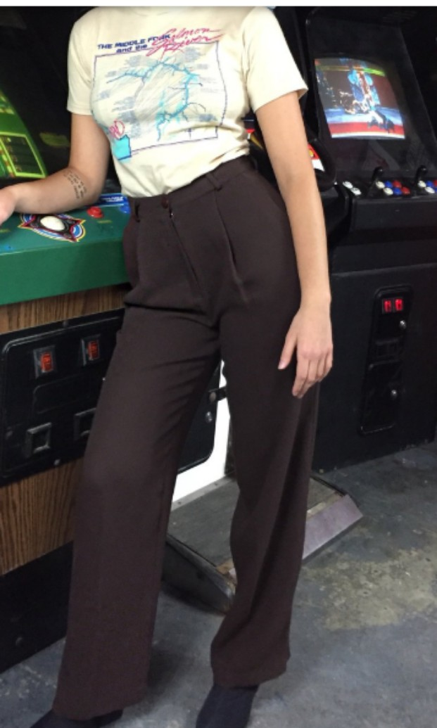 Vintage 70s Chocolate Brown Trousers XS-S
