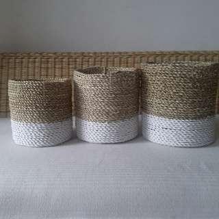 Basket mini anyaman 3 set