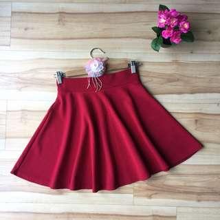 Korean Red A Line Skater Skirt