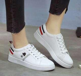 Kets Putih Kumis Murah - Sepatu Hitam Karakter Lucu - Slipon Putih - Sepatu Tali Gaya Main