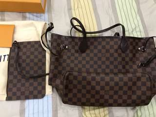 louis vuitton lv neverfull mm brand new damier
