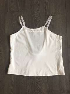 White Cami Top with sheer black detail Size Small