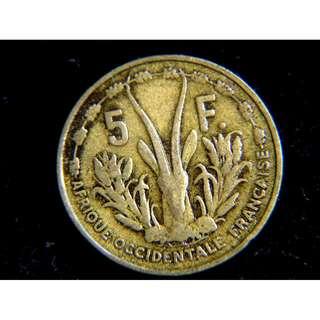 1956年法屬西非(French Western Africa)瑪莉安娜自由女神肖像羚羊頭5法郎(Francs)黃銅幣