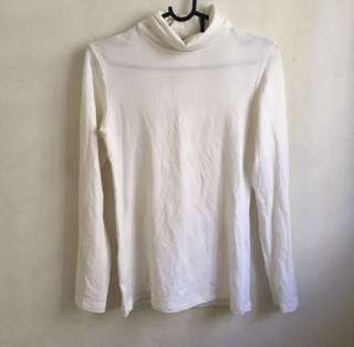 TURTLENECK BASIC WHITE LONG SLEEVE TOP
