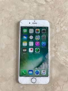 16GB SILVER IPHONE 6s (screen cracked)
