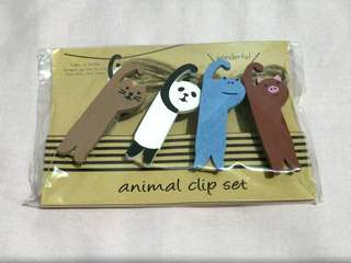 Animal wooden pegs clip set with string