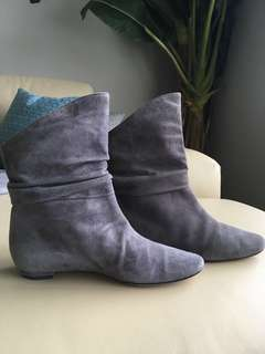 Manolo Blahnik Grey Suede booties 35.5