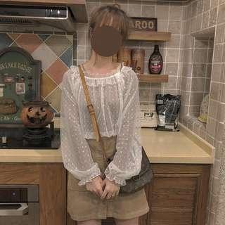 cats_日系 加購商品 / 燈籠袖網紗透視百搭罩衫