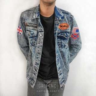 Jaket jeans custom patches captain draco sandwash