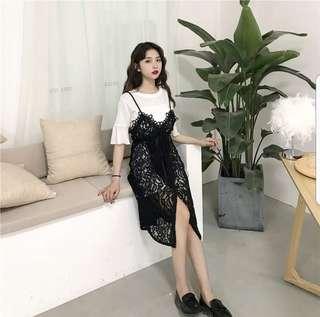 Lolita Lace Dress set / Korean dress / black dress