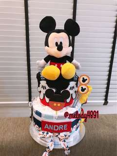 Mickey Mouse Diaper Cake 2 Tier (For New born, full month, 1 year old)