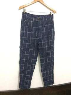 Korean Plaid Ankle Trousers / Pants / Slacks