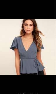 Blue v neck tie Blouse