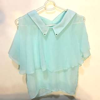 Cold Shoulder Chiffon Top (Turquoise)