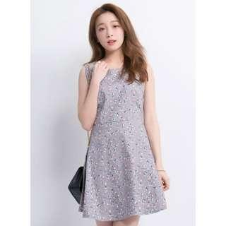 [ YOCO ] - Sleeveless Printed Dress in grey