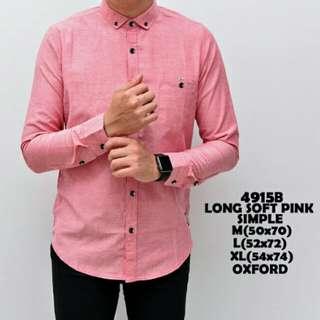 Kemeja pria long soft pink
