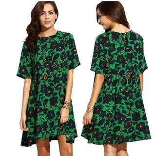 Casual loose short sleeve printed pleated skirt dress