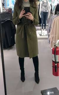 Limited Edition Zara Suede Khaki Trench Coat | Small