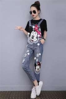 2018 New Korean Slim Mickey Sequined Hole High Waist Denim Bib Pants Trousers