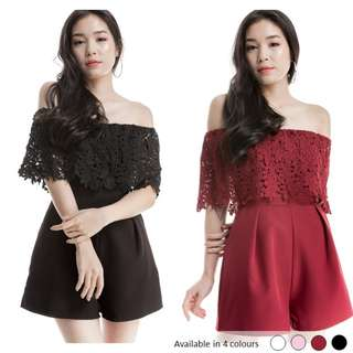 (PO) Crochet Off Shoulder Romper