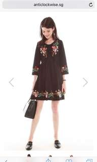 ACW Spring Embroidery Lace Tie Dress In Black