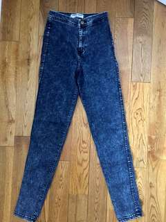 Acid wash high waisted jeans