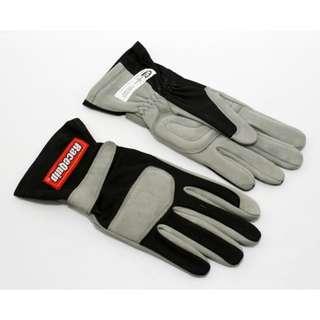 RaceQuip 351 Series SIZE MEDIUM ONLY Black Grey SFI FIA 3.3/1 One Layer Racing Gloves Automotive Car Racing Go Kart Karting Racing Gloves