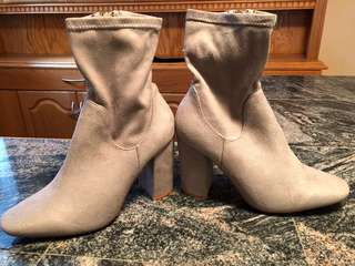 Brand New Grey Suede Booties