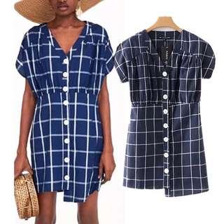 European and American women's fashion lattice buttons decorated stitching V-neck dress irregular skirt