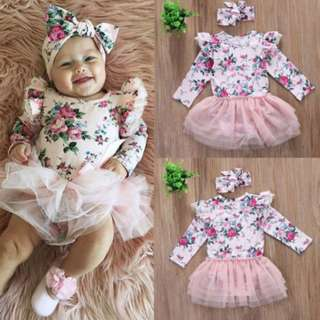 Toddler Infant Baby Girls Outfit Lace Long Sleeve Romper Dress Headband Clothes