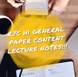 RJC H1 GP CONTENT LECTURE NOTES