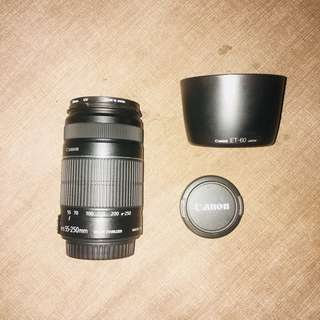 Canon 55-250 w/ hood (canon ET-60 japan)