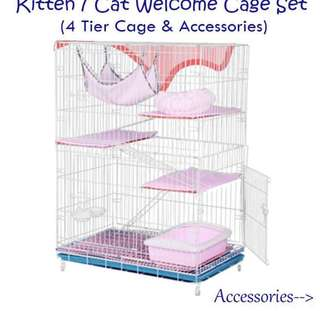Cat cage 4 tier / kitten welcome cage & accessories set