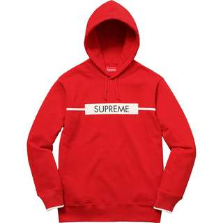 Supreme Chest Twill Tape Hooded Sweatshirt Red (Medium)