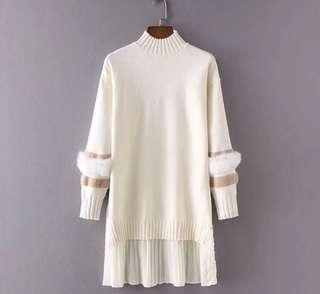 PO - Faux Fur Knitting Patchwork Long Sleeve Draped Dress (3 colors)
