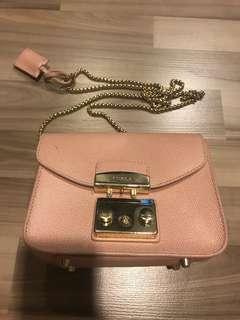 80% new furla metropolis pink sling bag