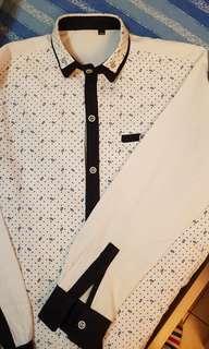 韓式長袖修身雙領籃花恤衫M碼胸圍闊50cm