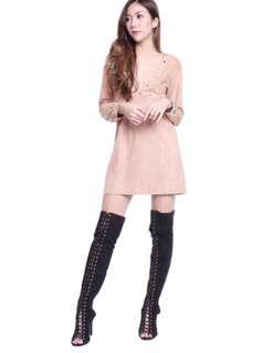 INSTOCK Eyelet Long Sleeved Kardashian Suede Dress in Blush (S)