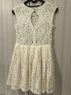 Nudy White Lace Dress