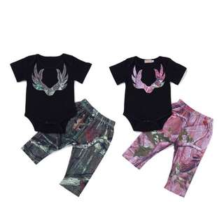2pcs Baby Boy Girl Camouflage Romper Set