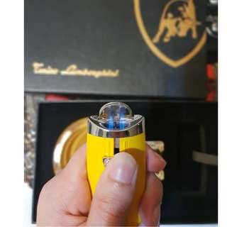 Lamborghini Glass Ashtray 2 Torch Jet Flame Cigar Lighter Set W/ Gift Box