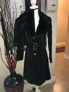 Marciano Suede Coat with Removable Fur Collar