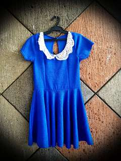 Blue Skater Dress with Collar
