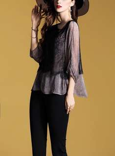 Lace combination soft balloon sleeve blouse