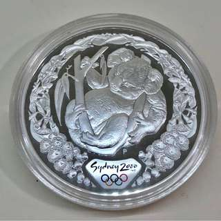 "5$ 2000 Sydney Olympic 1 oz silver proof coin ""Koala & Flowering Gum""."